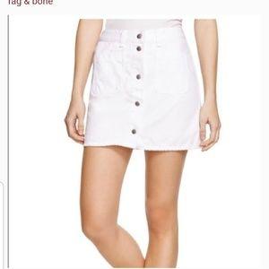Rag & Bone white front button denim mini size 28